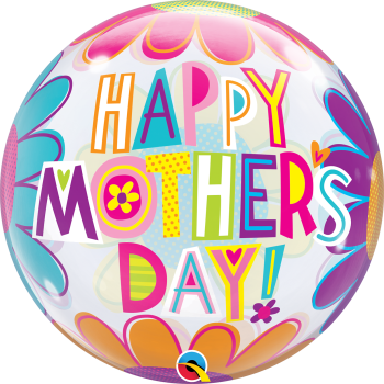 Happy Mother's Day Bubble Balloon - Large Flowers