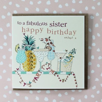 Fabulous Sister Happy Birthday Cocktails - Card