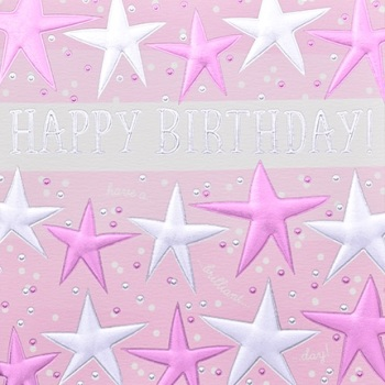 Happy Birthday Pink Stars - Card