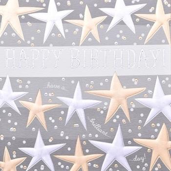 Happy Birthday Gold Stars - Card