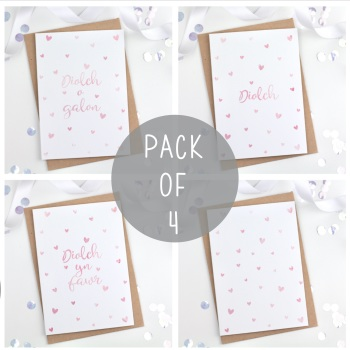 Dotty Hearts - Diolch - Card Pack - 4
