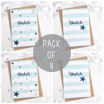Blue Starry Stripe - Diolch - Card Pack - 4
