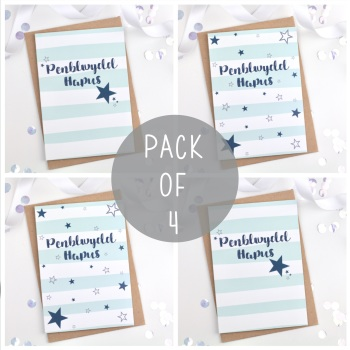 Blue  - Penblwydd Hapus - Card Pack - 4