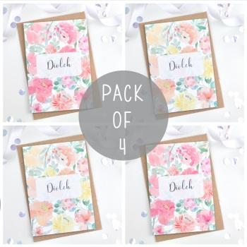 Floral Flourish - Diolch - Card Pack - 4