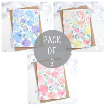 Floral - Plain - Card Pack - 3