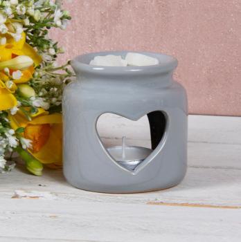 Grey Open Heart - Wax/Oil Burner