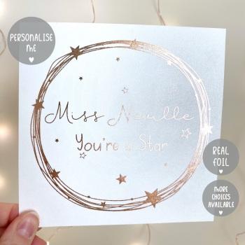 Personalised - Starry Wreath Teacher - Card