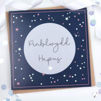 Penblwydd Hapus - Navy Starry Splats - Card