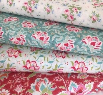Tilda Circus Fat Quarter Bundle - First Kiss Linen, Clown Flower Teal, Clown Flower Linen, Circus Rose Red