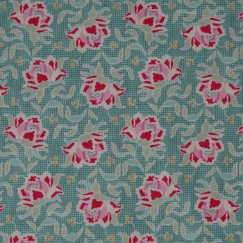 Tilda Circus Collection - Clown Flower Teal - Per Half Metre