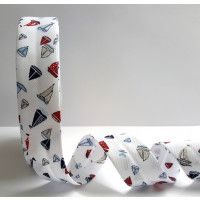 Bias Binding Red, Blue & Navy Sailboat Print on Textured Polycotton  30mm