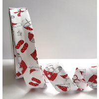 Bias Binding Red Beach Accessories Print on Textured Polycotton  30mm