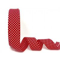 Bias Binding - Red with White Polka Dot  30mm