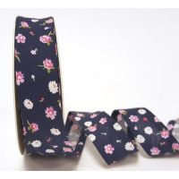 Bias Binding Navy Rose floral 1