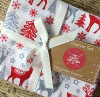 Christmas Fat Quarter Bundle Scandi Red & Grey