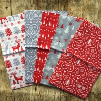 Christmas Fat Quarter Bundle Scandi Red & Grey