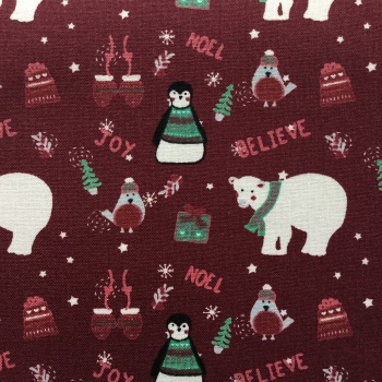 Christmas ~ Winter Warmer Polar Bear & Penguin by Fabric Freedom  FF206/2
