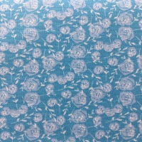 Fabric Freedom ~ Watercolour Swirls Collection  Leaves  Blue Per Half Metre