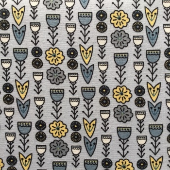 Fabric Freedom ~ Scandi Flora Collection, Floral Grey Per Half Metre