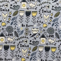 Fabric Freedom ~ Scandi Flora Collection Main Grey per Half Metre