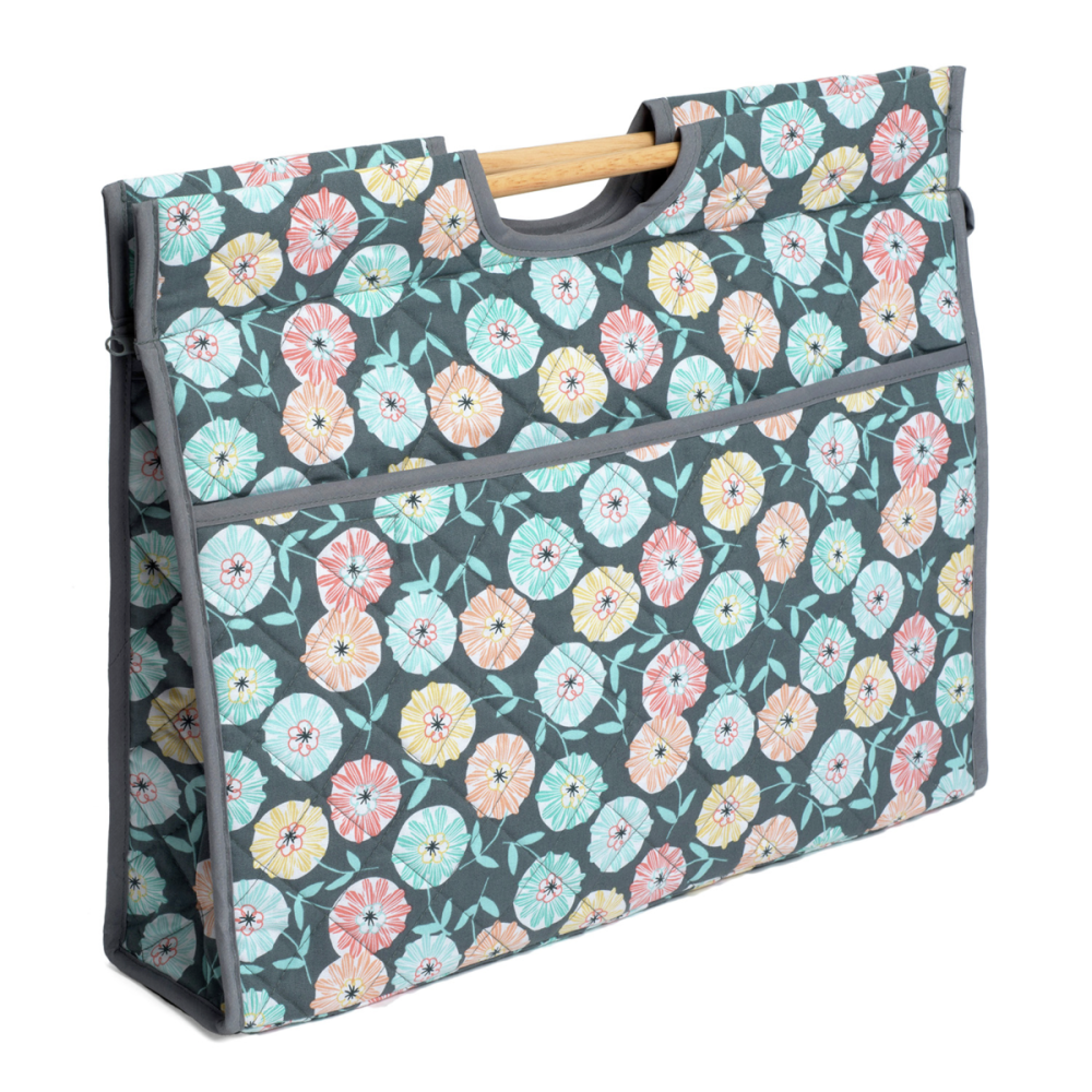 Large Quilted Craft Bag with Wooden Handles - Imogen
