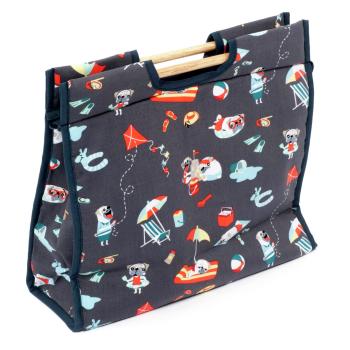 Lightweight Craft Storage Bag with Wooden Handles - Pugs