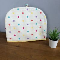Tea Cosy - Dotty Fabric with Yellow lining.