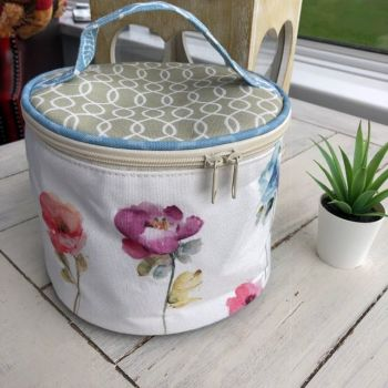 Round  two way zipped bag  floral - blue spine