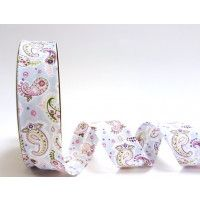 Bias Binding  - Pink, Lilac & Green Paisley  30mm