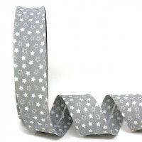 Bias Binding - Grey with White Stars 30mm