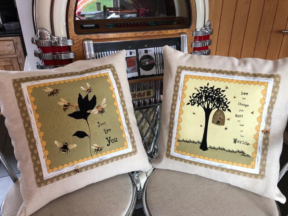Bee Panel on Laura Ashley Austen fabric Cushion cover