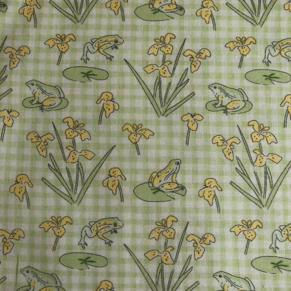 Debbie Shore Lily Pad Frogs on green gingham