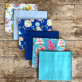 Robots Fat Quarter Bundle (6) by Fabric Freedom