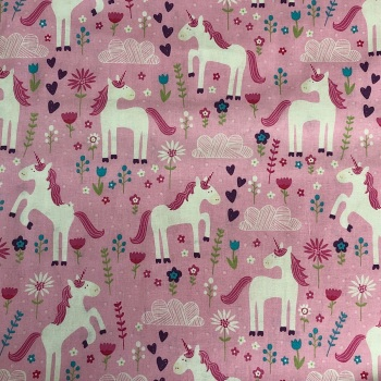 Pink Unicorns - Cute Fabric by Craft Cotton Co