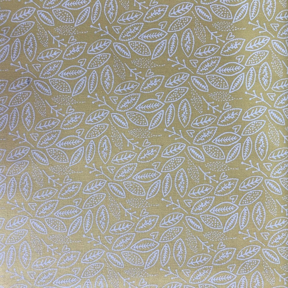 Fabric Freedom ~ Scandi Flora Collection Leaves Yellow Per Half Metre