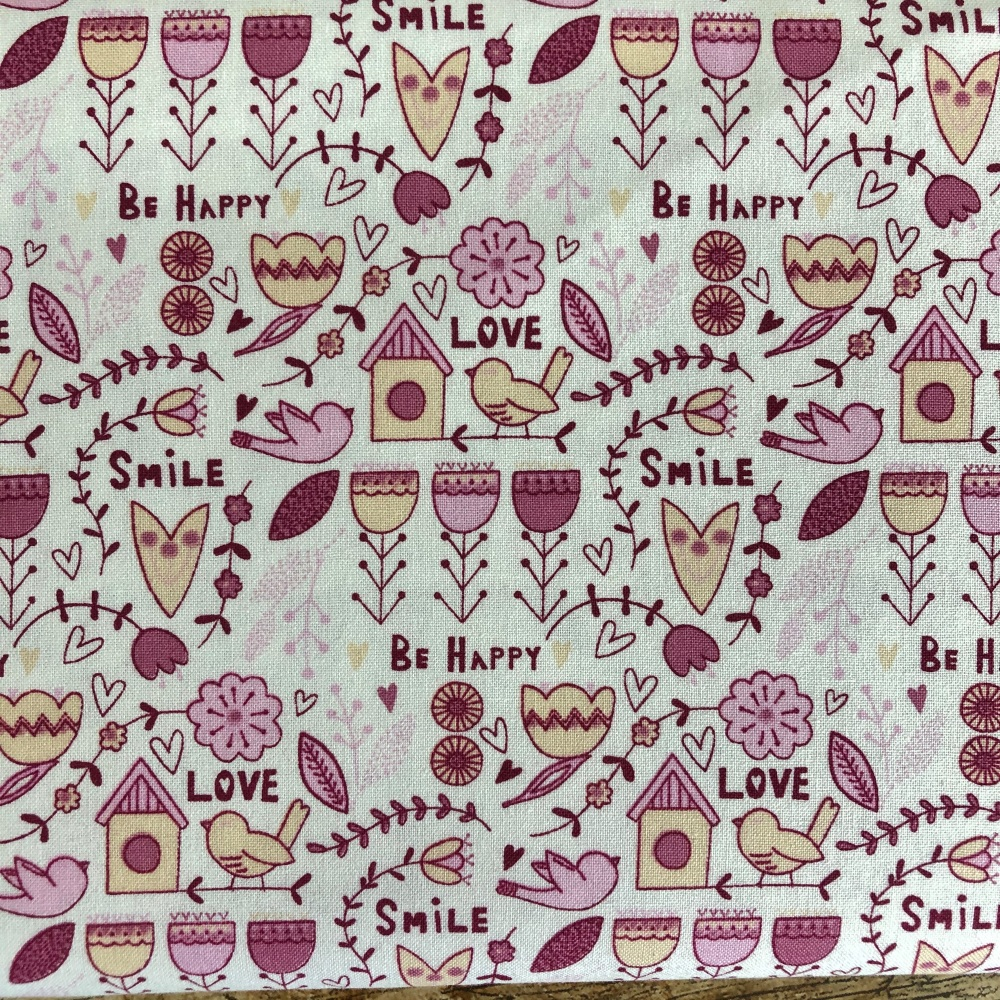 Fabric Freedom Scandi Flora Collection Main Pink - Love, Smile, Be Happy