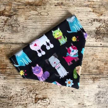 Dog Bandana - Cute dogs on black - Slide on - Reversible