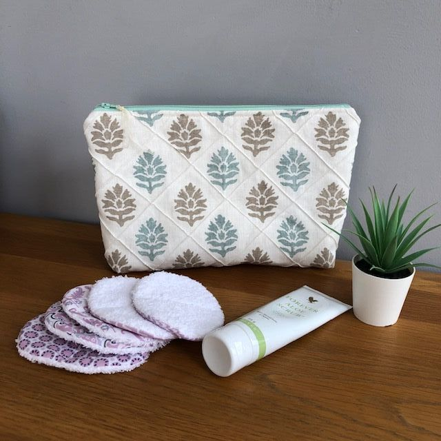 Large Toiletry Bag - Leaf in Linen - Duck Egg Blue and Grey