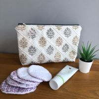 Lovely linen toiletry / cosmetic bag - Grey & Taupe Leaf Design