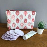 Lovely linen toiletry / cosmetic bag - Red Leaf in Linen Design