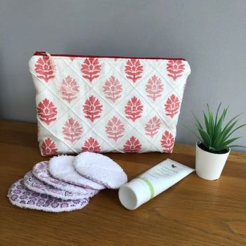 Large toiletry / cosmetic bag - Red Leaf in Linen Design