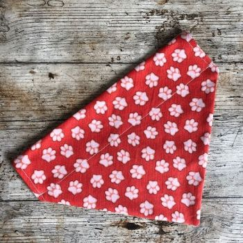 Dog Bandana - Paws Orange - Slide On - Reversible