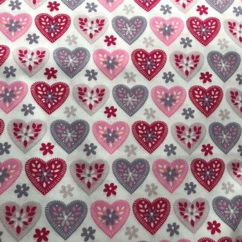 Rose & Hubble Pink and Grey Hearts on White