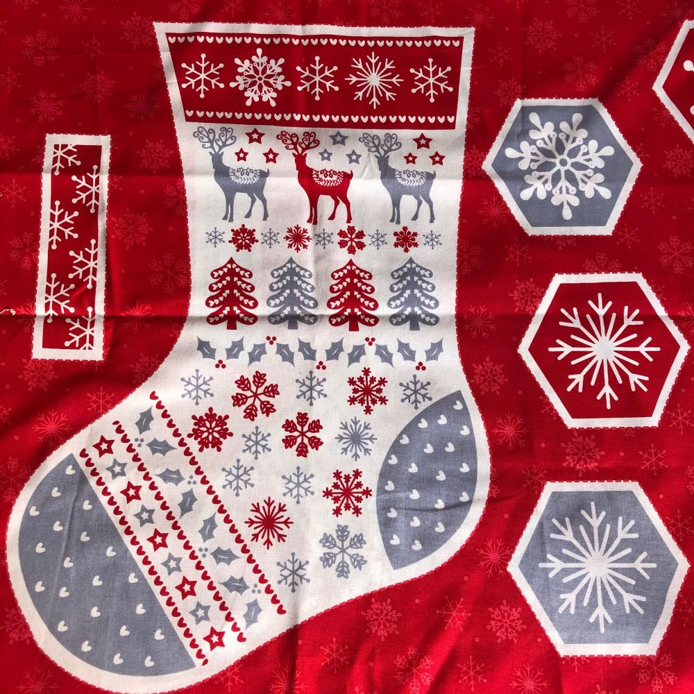 Christmas Stocking fabric panel - Scandi design