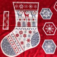 Christmas Stocking fabric panel - Scandi design