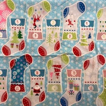 Christmas  Stocking Advent Calendar Bunting Fabric Panel