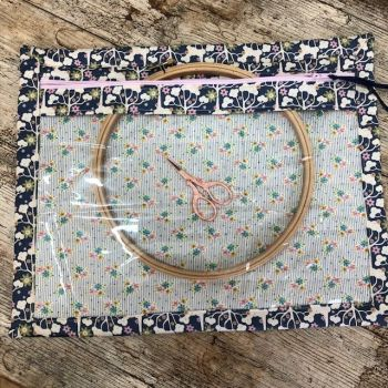 Vinyl Fronted  Project Bag  Tilda Navy Wildgarden for your Cross Stitch, Embroidery etc & Matching Needle Case