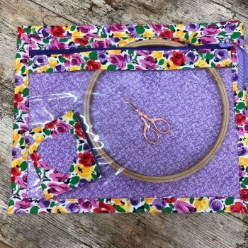 Vinyl Fronted Rose & Hubble Floral Project Bag for your Cross Stitch, Embroidery etc & Matching Needle Case