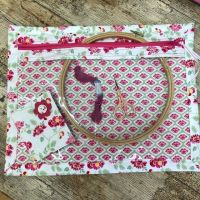 Vinyl Front Project Bag - Craft Cotton Grand Palace  for your Cross Stitch, Embroidery etc & Matching Needle Case
