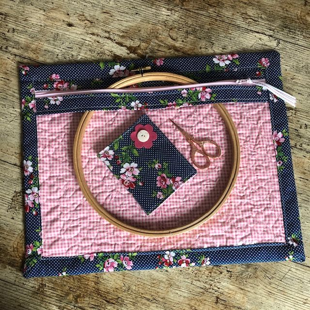Navy Floral Vinyl Fronted Project Bag for your Cross Stitch, Embroidery etc